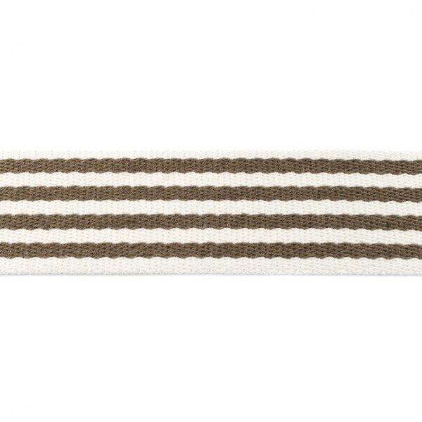 Breites Gurtband mit 4 Streifen off white / olivgrün 40 mm