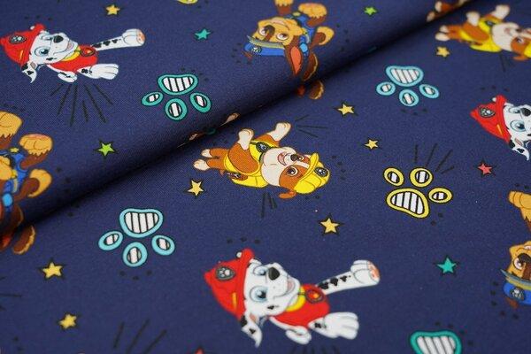 Baumwoll-Jersey Paw Patrol Hunde Pfotenabdrücke und Sterne auf dunkelblau