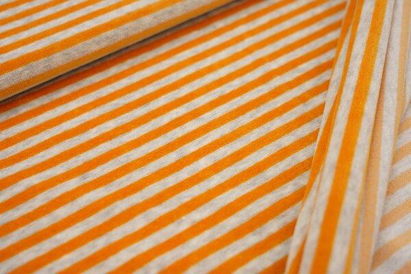 Nickistoff Streifen Ringel orangegelb / hellgrau meliert