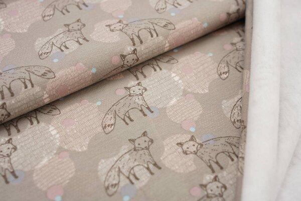 Kuscheliger Baumwoll-Sweat mit Füchsen und Punkten blassbraun / rosa Fuchs
