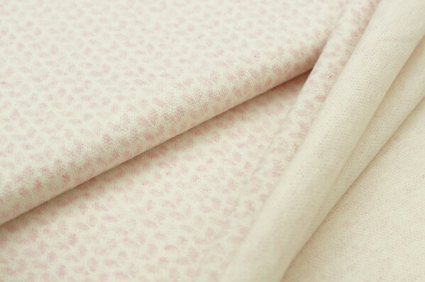 Jacquard-Sweat Mia kleine pastell rosa Melange Blätter auf off white