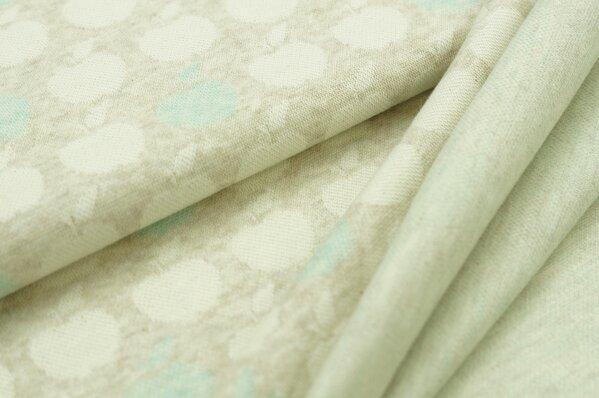 Jacquard-Sweat Mia off white und pastell mint Äpfel auf pastell beige Melange