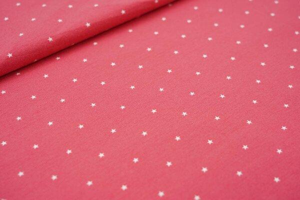 Baumwoll-Jersey kleine weiße Sterne auf himbeerrosa