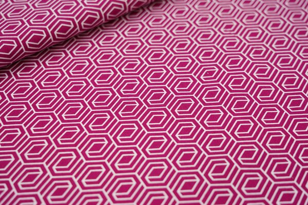 Baumwollstoff 3D Geometrie Muster violett pink / weiß