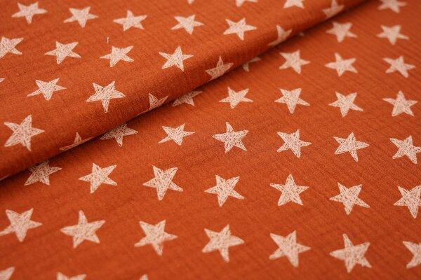 Musselin Stoff Double Gauze weiße Sterne auf rostorange