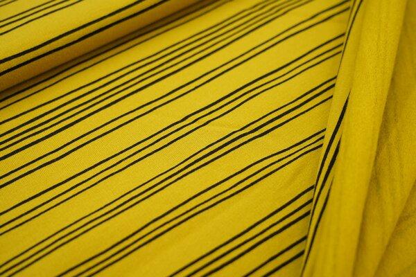 Kuscheliger Baumwoll-Sweat mit schmalen schwarzen Streifen Linien auf senf