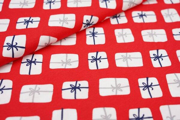 Interlock Jersey Weihnachtsgeschenke mit Schleifen auf rot Weihnachten