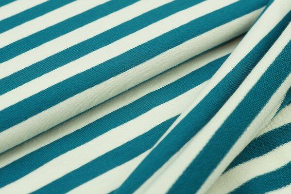XXL Baumwoll-Sweat MARIE Streifen Ringel breit petrol blau und creme