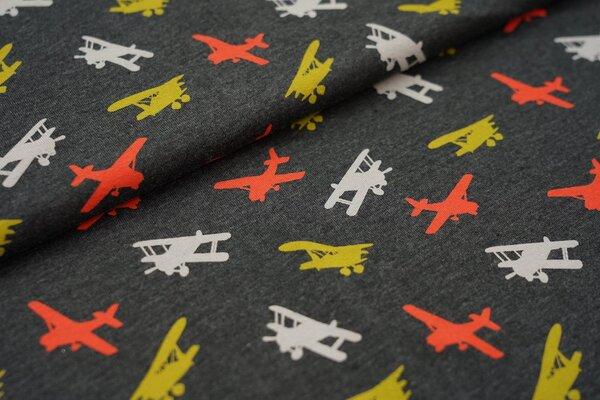 Baumwoll-Jersey Flugzeuge Flieger Doppeldecker auf dunkelgrau meliert