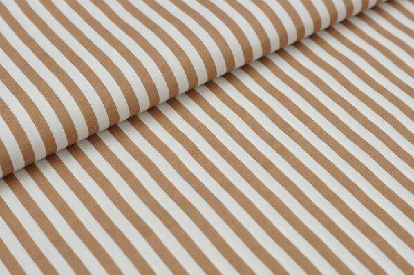 Baumwollstoff Baumwolle Streifen hellbraun / weiß