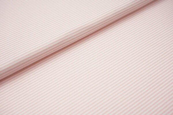 Interlock Jersey Streifen Ringel weiß / rosa