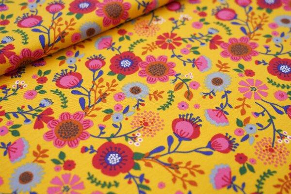 Baumwoll-Jersey große bunte Blumen auf senf mit hell pink / rot / braun / blau