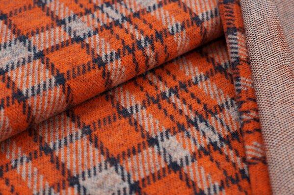 Kuschel Jacquard-Sweat Max Karo Muster navy blau / orange / off white