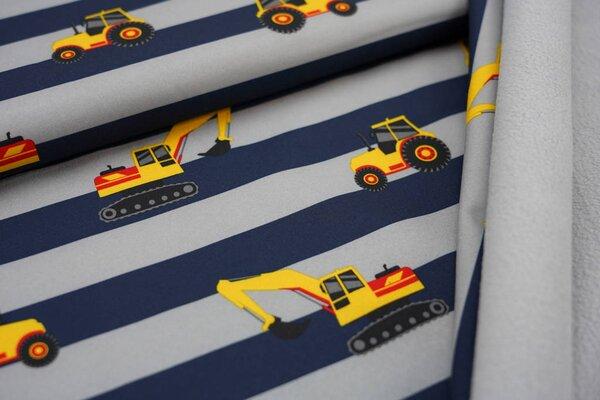 Softshell-Stoff Traktor & Bagger auf Streifen dunkelblau grau / graue Innenseite