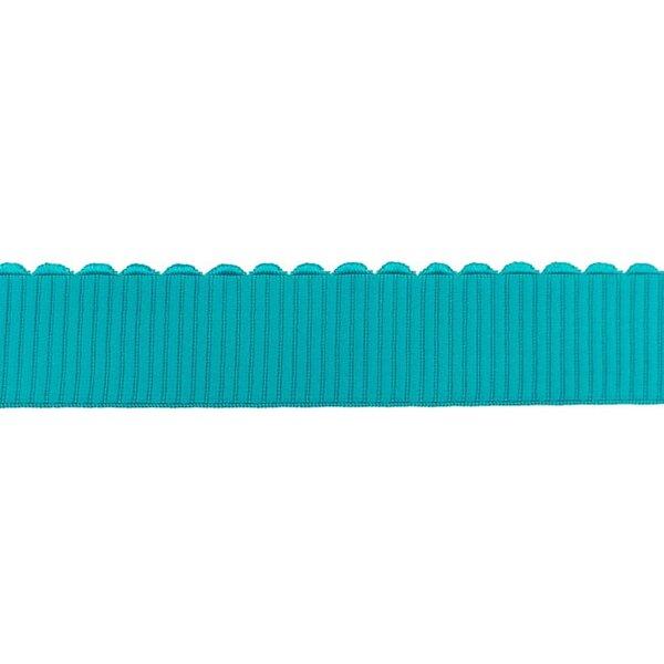 Breites Gummiband uni mit Spitze in Wellen-Form türkis 40 mm
