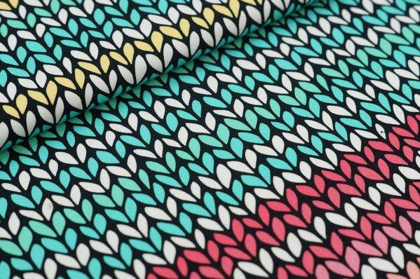 Baumwoll-Jersey Digitaldruck kleines Blätter-Muster off white / bunt auf schwarz