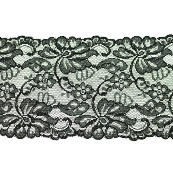 Elastische breite Spitze mit Blumen-Muster schwarz 155 mm Spitzenbordüre