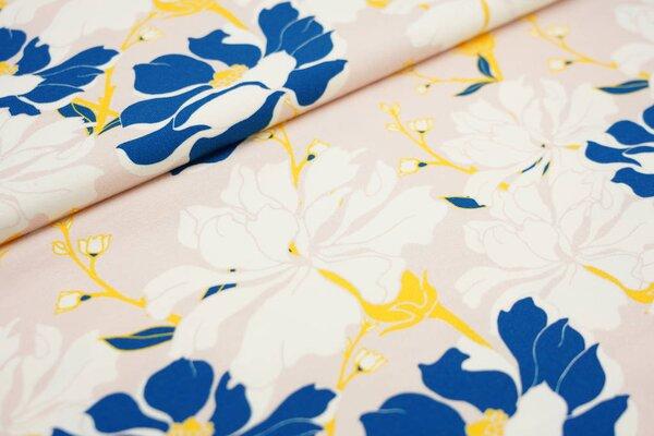 Baumwoll-Jersey Digitaldruck große Blüten Blumen rosa / off white / blau / gelb