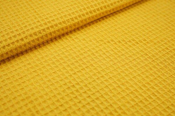 Waffelpiqué Waffelstoff uni senfgelb Baumwollstoff mit Waffelmuster