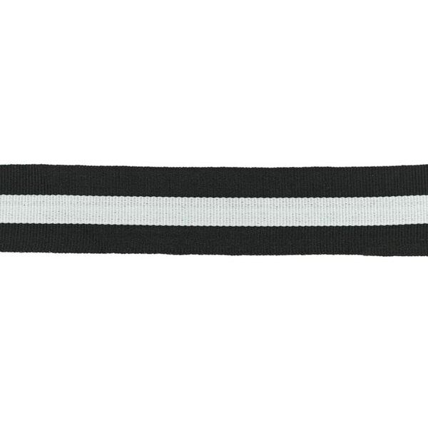 Ripsband Zierband mit Streifen schwarz weiß 30 mm