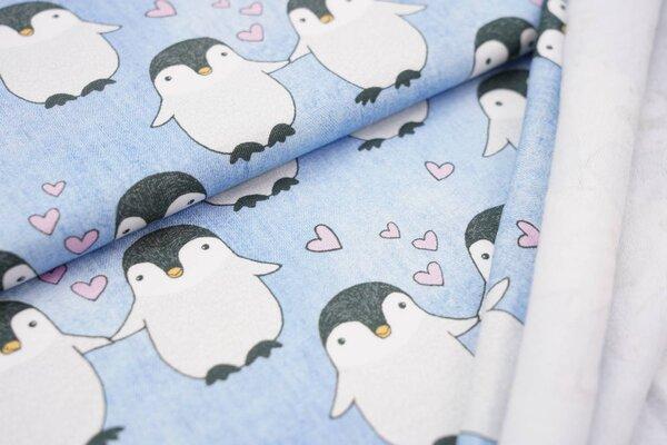 Kuscheliger Baumwoll-Sweat mit Pinguinen und Herzen Jeansoptik hellblau