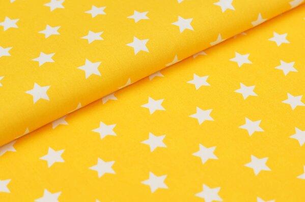Baumwollstoff Baumwolle große Sterne gelb / weiß