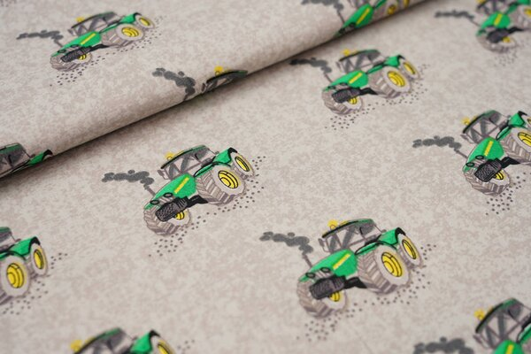 Baumwolle mit Traktoren auf hellgrau hellbraun gemustert