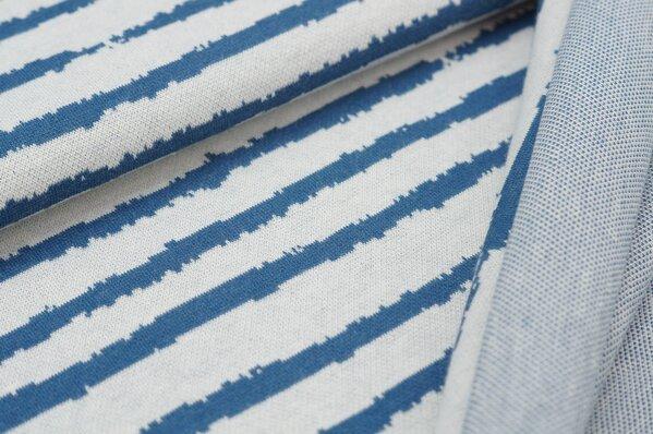Jacquard-Sweat Ben Streifen taupe blau / off white / lachs Rückseite