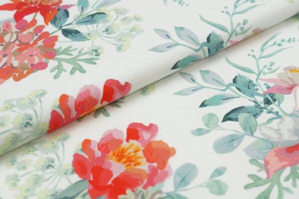 Baumwoll-Jersey Digitaldruck Aquarell Blumen Gestecke auf off white