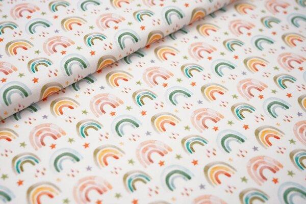 Digitaldruck Baumwoll-Jersey Aquarell Regenbögen Regentropfen und Sternen auf weiß Regenbogen