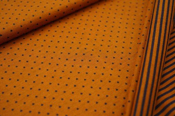 Double face Jersey Punkte / Streifen in senf ocker / dunkelgrau