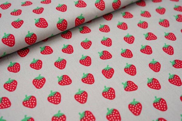 Baumwolle mit Erdbeeren auf hellgrau
