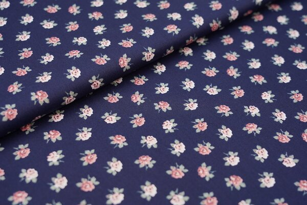 Baumwolle Rosen auf dunkelblau Blumen