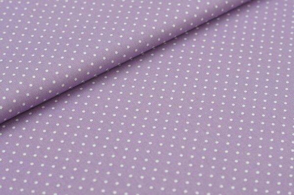 Baumwollstoff Baumwolle hell lila mit kleinen weißen Punkten