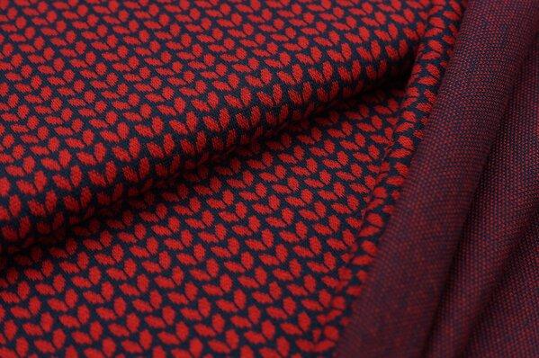 Jacquard-Sweat Ben kleine rote Blätter auf navy blau