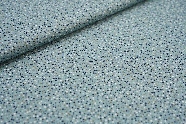 Baumwoll-Stoff mit kleinen Punkten altgrün / grünbraun / dunkelblau / weiß