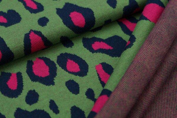 Jacquard-Jersey XXL Leoparden Muster grün / navy blau / amarant pink