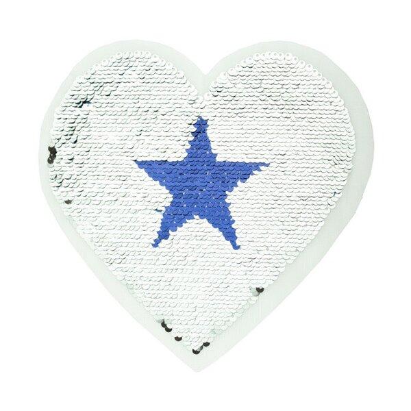 Applikation großes Herz mit Stern silber / blau Wendepailletten Aufnäher