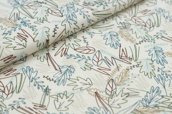 Baumwoll-Jerseystoff Blätter-Muster in grün / braun / blau / beige auf ecru