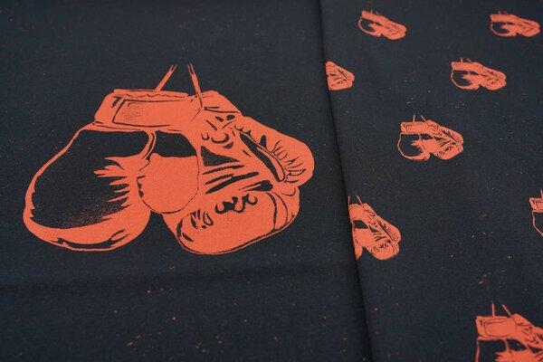 XL Panel Baumwoll-Jersey orangerote Boxhandschuhe auf schwarz Digitaldruck