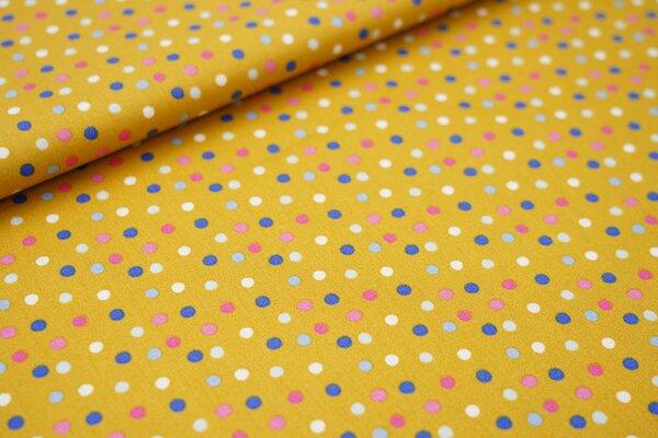 Baumwollstoff mit bunten Punkten senf / pink / rosa / blau / hellblau / weiß