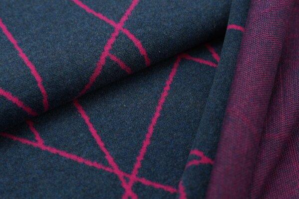 Kuschel Jacquard-Sweat Max mit Streifen navy blau / amarant pink Melange