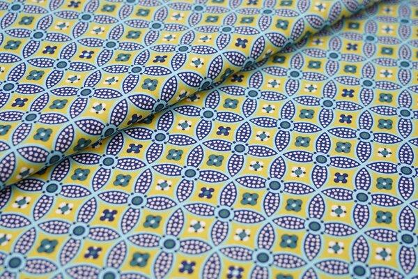 Baumwollstoff abstraktes Retro-Muster Kreise Blumen ocker / aqua blau / dunkelblau