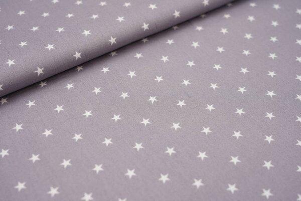 Baumwolle weiße Sterne auf silbergrau maritim