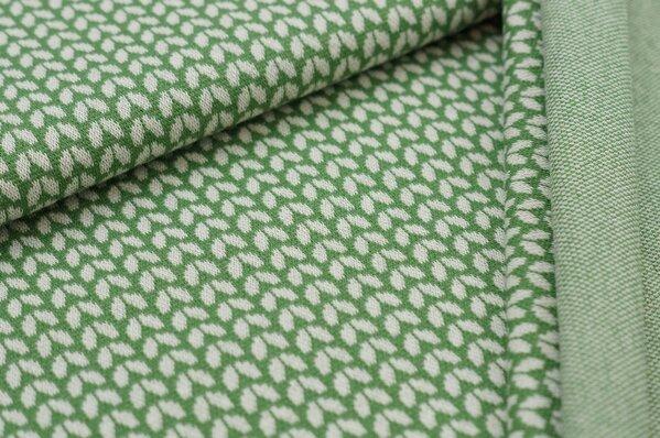 Jacquard-Sweat Ben kleine off white Blätter auf grün