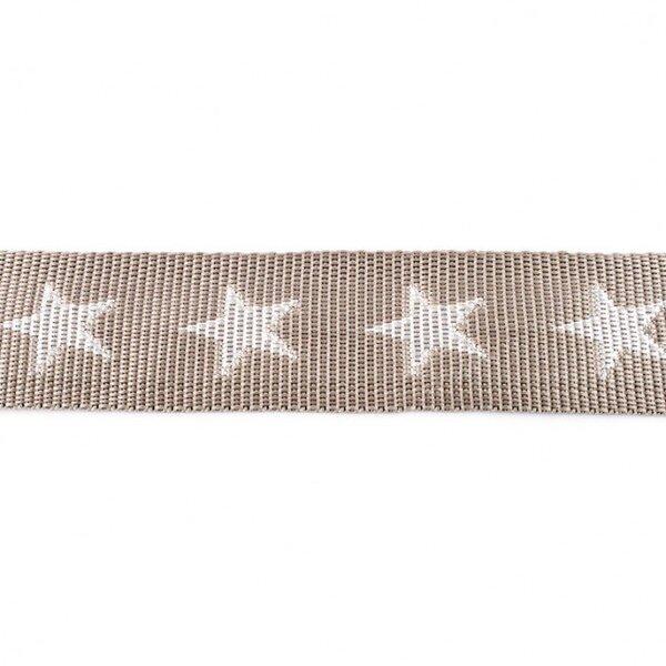 Breites Gurtband mit Sternen hellgrau / weiß 40 mm