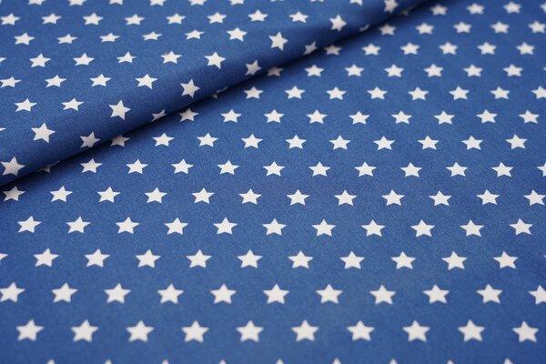 Baumwollstoff Baumwolle kleine Sterne taupe blau / weiß
