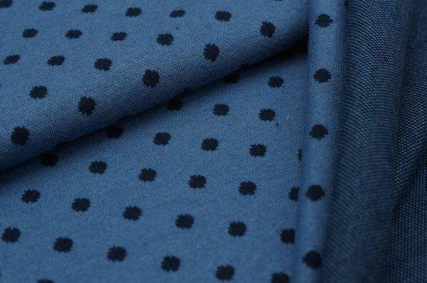 Jacquard-Sweat Ben navyblaue Punkte Tupfen auf taupeblau