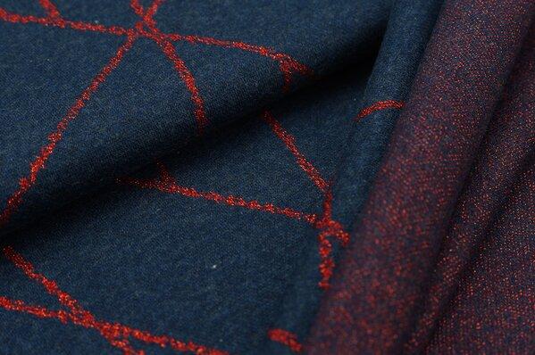 Jacquard-Sweat Mia rote Lurex Glitzer Streifen auf navy blau Melange