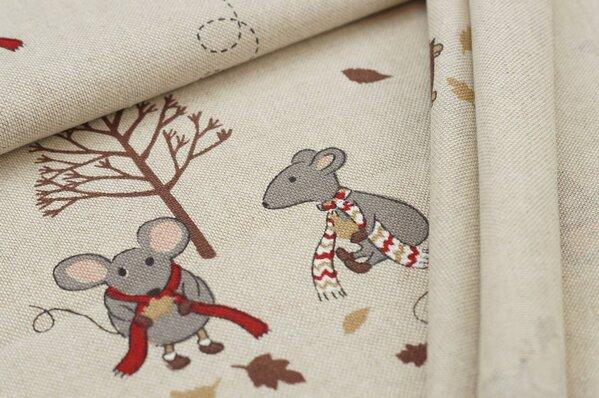 Canvas-Stoff Dekostoff in Leinenoptik Herbst mit Maus, Igel, Vogel braun natur